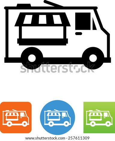 Food truck symbol for download. Vector icons for video, mobile apps, Web sites and print projects.