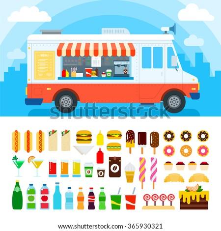 food truck vector flat