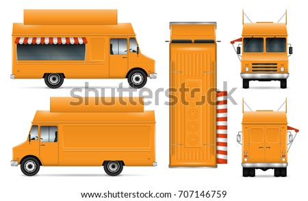 Food truck vector mock-up for car branding and advertising. Mobile kitchen van. Corporate identity element. All layers and groups well organized for easy editing. View from side, front, back, top. Foto stock ©