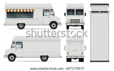 Food truck vector template for car branding and advertising. Isolated delivery van illustration on white. All layers and groups well organized for easy editing. View from side, front, back and top.
