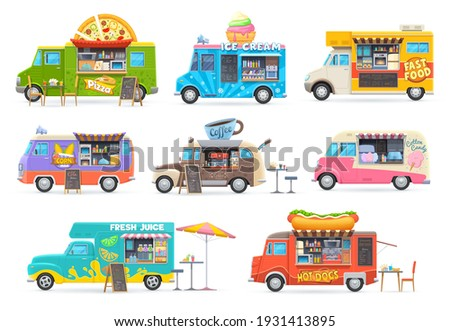 Food trucks isolated vector cars, cartoon vans for street food selling. Cafe restaurant on wheels, transportation with fastfood chalkboard menu, pizza, ice cream, pop corn and coffee or juice trucks Foto stock ©