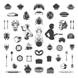 Food Vector Design Elements. Chef Woman and Man Silhouette Isolated On White Background. Vector object for Labels, Badges, Logos Design. Barbecue, Meat and Bakery Icons, Cupcakes and Breads Symbols.