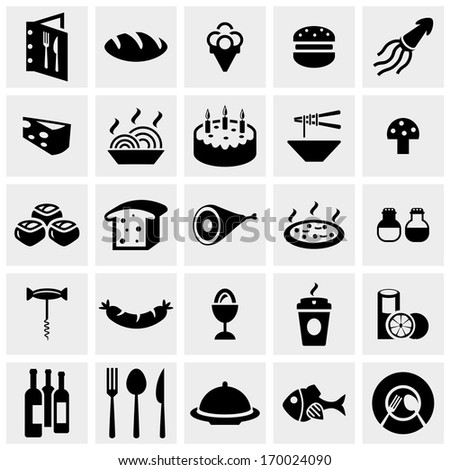 food vector icon set on gray