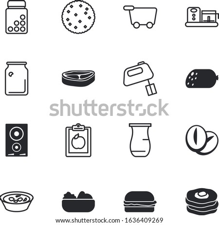 food vector icon set such as: alcohol, supplements, fork, salami, jug, seed, retail, juicer, small, cute, roasted, beater, trolley, delicious, lamb, cuisine, care, capsule, confectionery, baguette