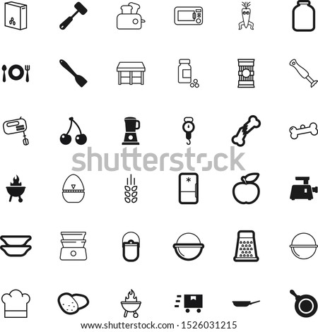 food vector icon set such as: bowl, corn, water, break, draw, jar, industry, grain, legs, oven, group, mason, hat, barley, preparation, fracture, bran, weigh, drink, spatula, canning, express, vial