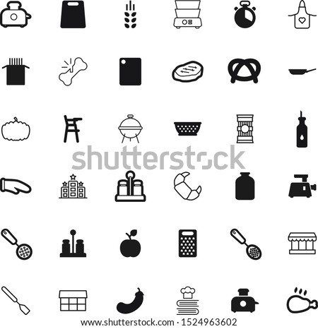 food vector icon set such as: fruit, farming, mason, bottle, room, stone, uniform, icons, wear, double, electric, hotel, salty, dishware, women, worker, jar, lunch, vacation, party, household