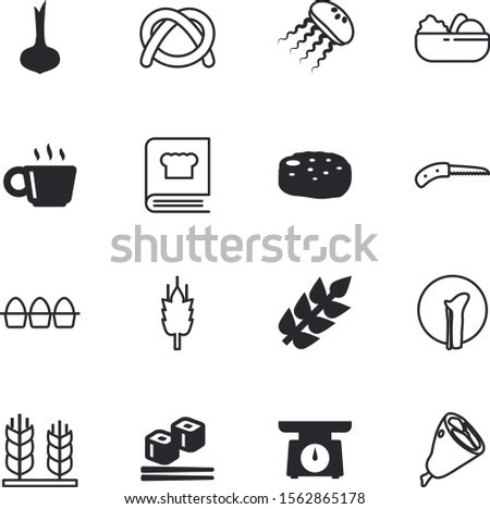 food vector icon set such as: tea, damaged, shank, weight, sharp, steak, strong, roll, web, pencil, dial, cutlet, water, knives, quickly, cutlery, people, single, kilogram, nuggets, bird, marine