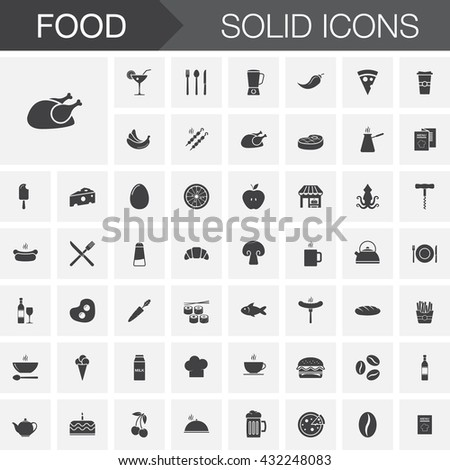 Food vector icons set, modern solid symbol collection, pictogram pack isolated on white, logo illustration