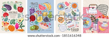 Food, vegetables and fruits. Vector illustrations: dishes, kiwi, broccoli, pumpkin, eggplant, avocado, pear, tomato, teapot, still life on the table, etc. Drawings for poster, card or background