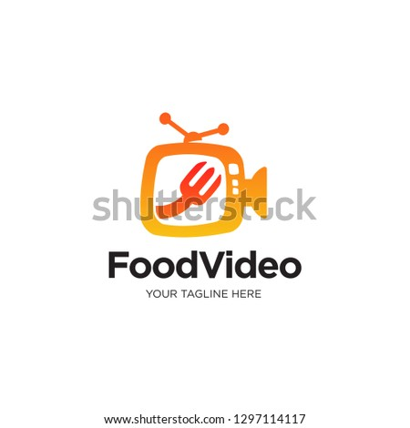 Food Video Play Logo Template Design Vector, Emblem, Design Concept, Creative Symbol, Icon. Food Video Record Logo Template Design Vector, Emblem, Design Concept, Creative Symbol, Icon - Vector