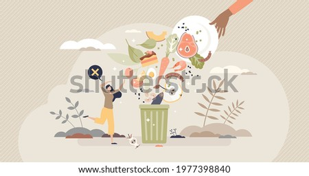 Food waste and meal leftovers garbage reduce awareness tiny person concept. Throw away groceries in trash after shelf life end vector illustration. Bad attitude to environment and nature resources.