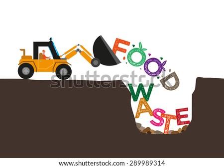 Food Waste concept. Bulldozer buries uneaten food underground. Editable Clip Art.
