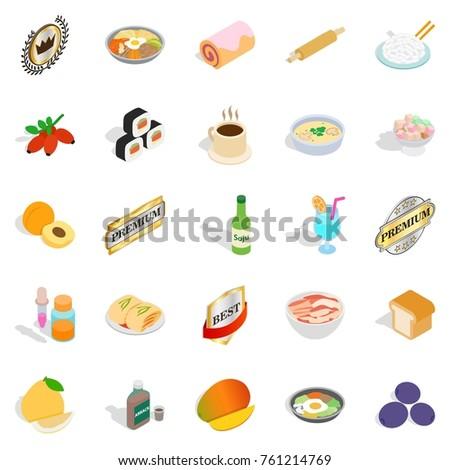 Food with vitamin icons set. Isometric set of 25 food with vitamin vector icons for web isolated on white background