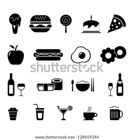 Foods and Drinks Icon set Black and White