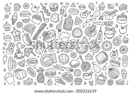 foods doodles hand drawn