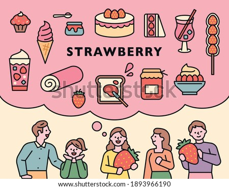Foods made with strawberries. People are thinking of a variety of strawberry menus with large strawberries.