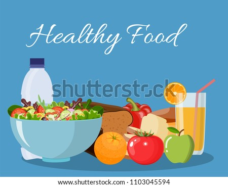 Foods that help health-care. Diet for life. vector illustration in flat design