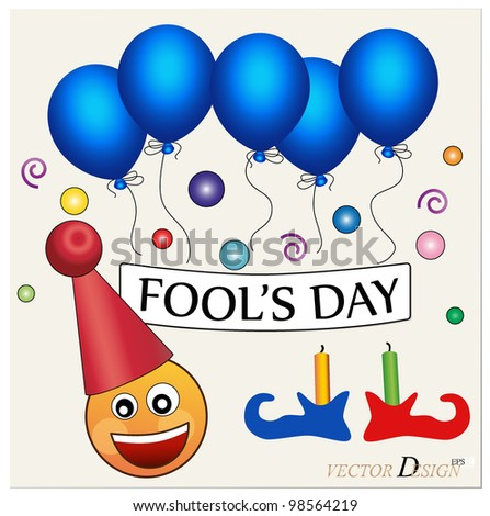 Fool's day. Celebrating April Fools' Day. The amusing clown with poster.  Vector illustration.