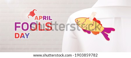 Fools day 1 april horizontal composition with realistic image of paper fish glued to strangers shirt vector illustration Photo stock ©