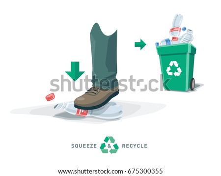 Foot depress empty pet bottle and put into recycling trash bin. Squeezed plastic trash flat under the shoe with green garbage can. Isolated vector illustration. Reduce the volume of recyclate. Foto stock ©
