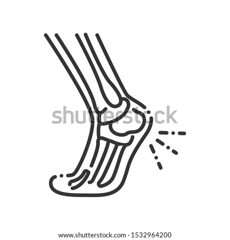 foot heel pain line black icon