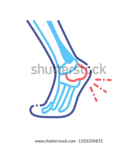 foot heel pain line color icon