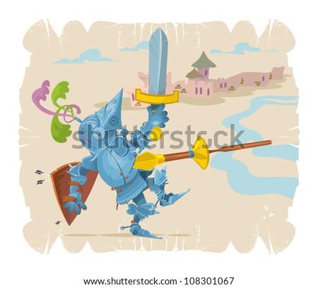 Foot knight in battle. Cartoon, 1, vector