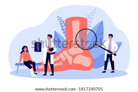 Foot or toe trauma concept. Podiatry doctor giving X ray to patient with plaster on ankle. Vector illustration for podiatrist, physiotherapist, feet disease treatment, surgery topics Stockfoto ©