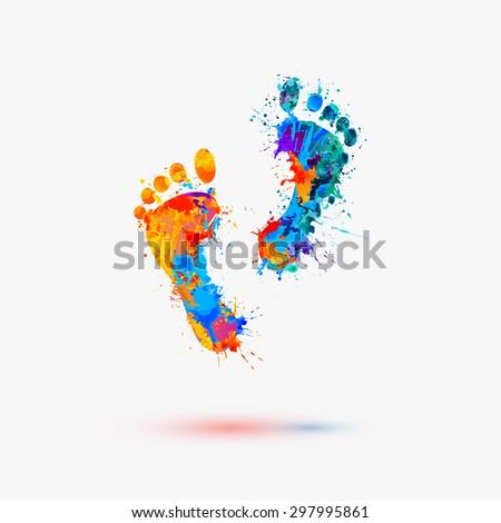 foot prints vector watercolor