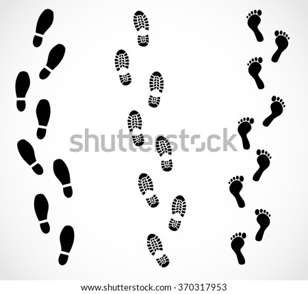 Foot trail set vector