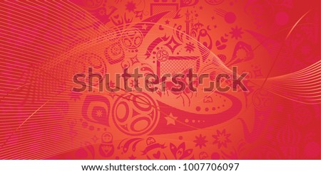 Football 2017/18/19 Abstract red color pattern, dynamic shapes, lines, sports, russian folk art element, soccer ball, balalaika and doll, stars, award symbols, international world competition vector
