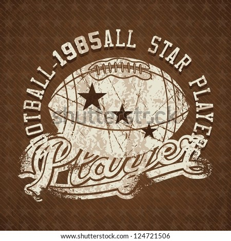 Football 1985 all stars player vintage insignia. Vector illustration