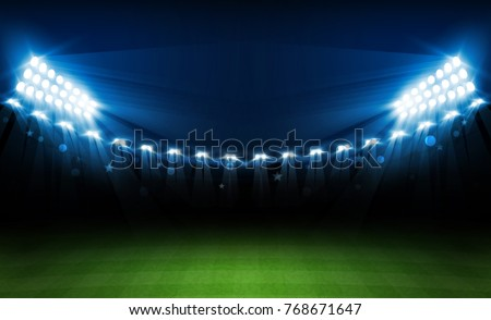 Football arena field with bright stadium lights vector design. Vector illumination