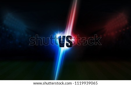 Football arena field with bright stadium lights vs letters for sports and fight competition. Battle and match design. Vector illumination