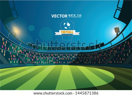 Football Arena. Sports stadium with lights background.