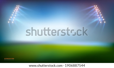 Football Arena. Sports stadium with lights background, eps 10