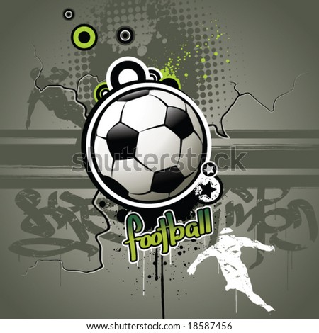Football attributes on the wall - stock vector