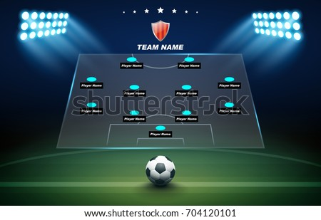 Football background with soccer ball, green field, spotlights and Football formation tactic