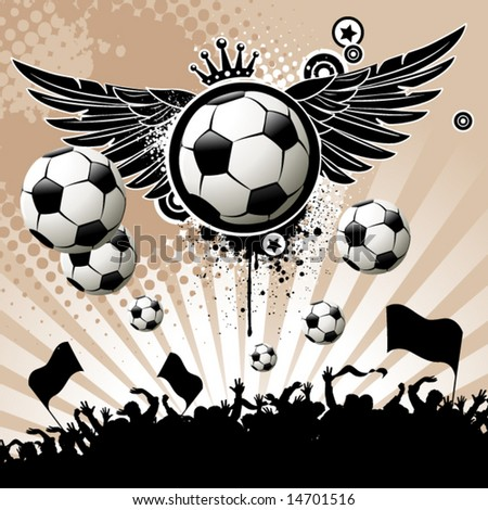 Football background  with the balls, wings and stars
