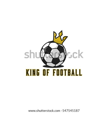 Football ball logo in gold crown, lettering t-shirt print soccer cartoon emblem mockup, sport tournament sticker.