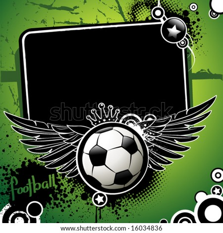 Football banner, ball with wings and stars on a grunge background