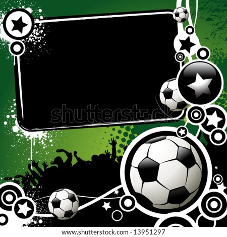 Football banner with the balls and stars on a green background