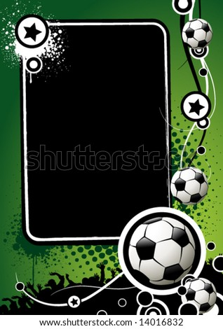 Football banner with the balls and stars on a green background - stock vector