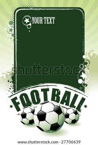 Football banner with the balls on a green background
