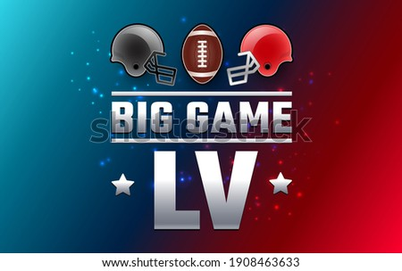 Football big game Sunday - two football helmets and football ball 2021 - red and blue background vector