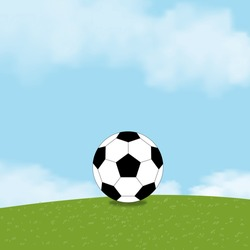 Football black and white on green fields with fluffy cloud and blue sky, One Soccer ball on grass lawn.