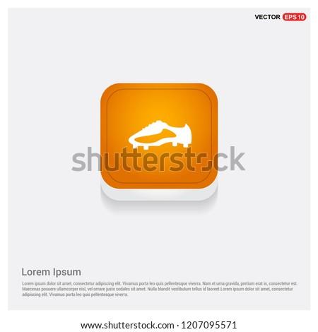 Football Boot Icon Orange Abstract Web Button - Free vector icon