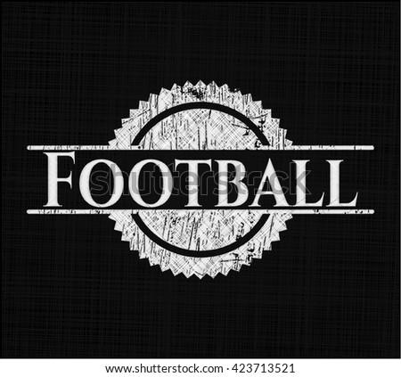 Football chalkboard emblem written on a blackboard