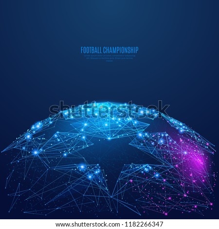 Football championship background. Low poly blue and purple. Polygonal abstract sports illustration. In the form of a starry sky or space. Vector image in RGB Color mode.