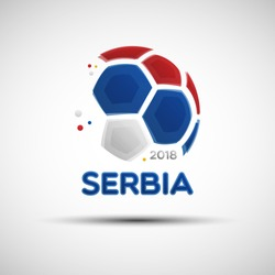 Football championship banner. Flag of Serbia. Vector illustration of abstract soccer ball with Serbian national flag colors for your design